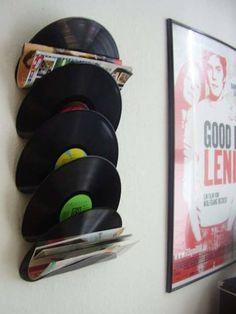 9.) Melt records together to make a unique magazine holder.