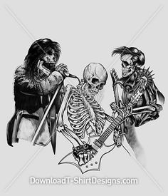 Skeleton Music Rock Band Guitar. Download this design & print on your T-Shirts or products today