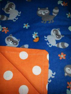 Rocky and Rita the Racoon Baby Blanket blue and orange with grey raccoons by TinkeringInNeverland #racoonnurserydecor #woodlandnursery #babyblanket