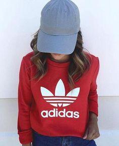 db867a3abd Adidas Burgundy Fashion Casual Long Sleeve Sport Top Sweater Pullover  Sweatshirt