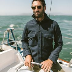 The Maritime Shirt Jacket in Navy Donegal Lambswool - alternate view Blue Jeans Outfit Men, Blue Jean Outfits, Nautical Outfits, Nautical Fashion, Nautical Clothing, Dope Fashion, Mens Fashion, Curvy Fashion, Fashion Styles