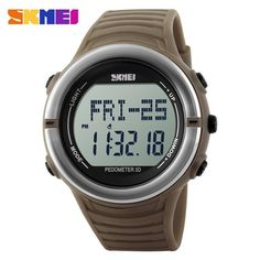 Jam Tangan Pria SKMEI Digital Pedometer Heart Rate Original DG1111HR Coklat fb46393aca