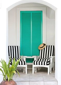 Striped Black Beach Chairs ... with Turquoise Shutters ... Aaaaah Time to RELAX FROM: beach house decor outdoor space