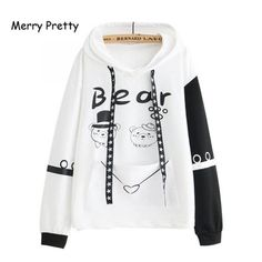 Cute Hoodie, Bear Print, Hoodies, Sweatshirts, Adidas Jacket, Graphic Sweatshirt, Pullover, Female, Casual