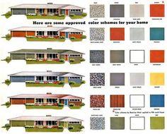1950s midcentury pre-approved paint palette | Image: madformidcentury.com