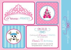 PRINCESS and PIRATES Birthday Party Invitation  by andersruff, $18.00