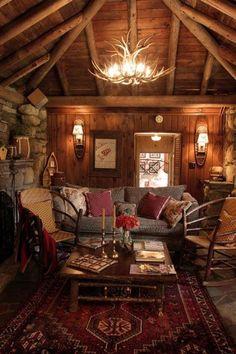 Homemade log cabin decor