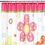 Dancing Flowers shower curtain. Girls' bathroom.