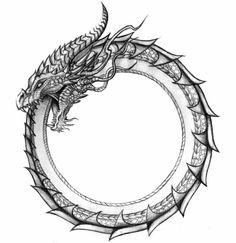 o ouroboros simboliza o ciclo daevoluçãovoltando-se sobre si mesmo. O símbolo contém as ideias de movimento, continuidade, autofecundaçãoe, em consequência,eterno retorno.