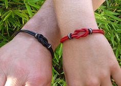 Couples Jewelry Love Knot Leather Bracelets and Lovers Note Card explaning Celtic Knot and its Symbolism