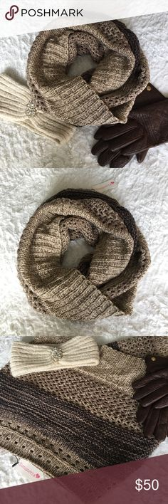 "🆕 NWT Knitted Ombré Infinity Scarf Brand new with tags! Brown ombre knitted infinity scarf. Very soft and warm. 100% acrylic. The brand is Simonetta. Approximately 30"" long. About 60"" circumference.    🛍 Bundle & Save: 20% off 2+ items!  🙅🏻 No trades / selling off Posh.  ✔️ Reasonable offers always welcome. Simonetta Accessories Scarves & Wraps"