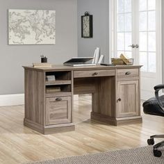 Barrister Lane Executive Desk, Salt Oak - Walmart.com