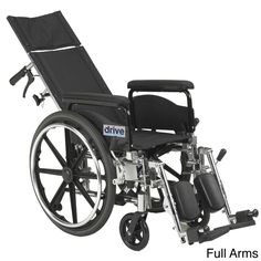 Drive Medical Viper Plus GT Full Reclining Wheelchair (18 Seat Width; Full Arms), Silver steel