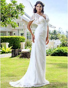 gaine / colonne sweetheart tribunal train robe de mariée en dentelle mousseline de soie -