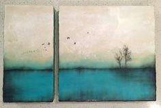 """Above turquoise"" series #4 Diptych 12x18"" encaustic artwork"