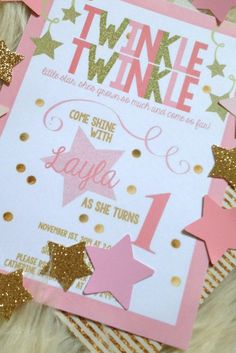 Gold is a must for a Star party! - Twinkle Twinkle Little Star Birthday Party Invitation Baby Girl 1st Birthday, Birthday Fun, First Birthday Parties, Birthday Party Themes, 1st Birthday Girl Party Ideas, Gold Birthday, Frozen Birthday, Star Wars Party, Star Party