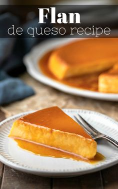 Slice of flan de queso topped with caramel sauce Fun Easy Recipes, Retro Recipes, Best Dessert Recipes, Sweet Recipes, Cake Recipes, My Best Recipe, Latest Recipe, Cream Cheese Flan, How To Make Flan
