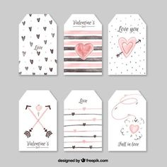 Collection of watercolor labels for valentine Free Vector Watercolor Birthday Cards, Birthday Card Drawing, Tarjetas Diy, Diy And Crafts, Paper Crafts, Diy Gifts For Friends, Printable Planner Stickers, Scrapbook Stickers, Diy Cards