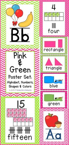 Pink & Green classroom poster set with chevrons and polka dots! Includes alphabet, numbers 0-20, colors, 2d & 3d shapes and binder covers!
