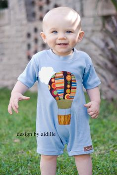 Baby Boy Applique Romper Hot Air Balloon One Piece Outfit 6 12m 12 18m 18 24m. $32.50, via Etsy.