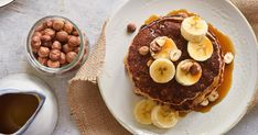 These healthy oatmeal and banana pancakes are filling, easy to make, and taste delicious! Made without refined sugar, these pancakes are packed with banana flavor.