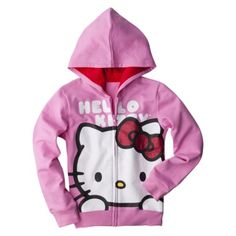 Hello Kitty Girls' Large Logo Zip-Up Hoodie -  Pink  online only $17