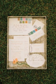 Wedding invitation suite and save the date by Lettered Olive, image by Juliet Elizabeth Photography. See more in the Winter 2014 issue of Weddings Unveiled: www.weddingsunveiledmagazine.com.
