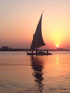 Photo by Menna Farid . Sunset over the river Nile in Cairo