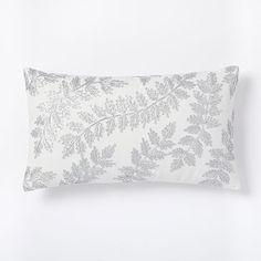 Metallic Laurel Leaves Pillow Cover - Stone White #westelm