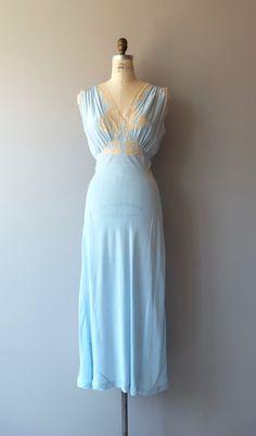 Gorgeous vintage 1930s sky blue silk bias cut nightgown with ecru lace  bodice… ae73e7037