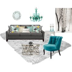 Elegant Aqua And Grey Living Room