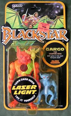 "Action figure for Gargo, the vampire man, from Galoob's line of toys based on the ""Blackstar"" cartoon"