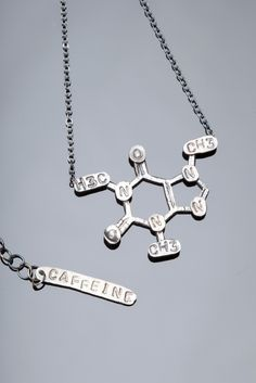 Caffeine Chemical Structure Necklace