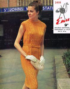 Ladies aran cable dress,vintage knitting pattern
