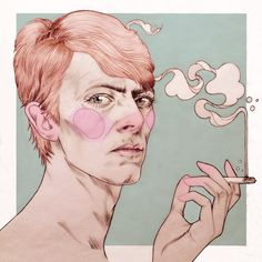 Kind of want his pupil to be more dilated, but love the style and colours. David Bowie by Liz Clements.