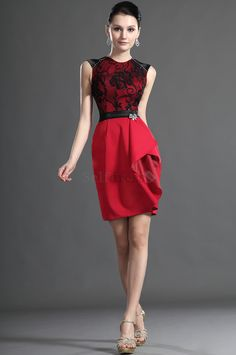 Misses Natural Waist Elastic Woven Satin Exclusive Mesh Fabric Thin Red Fancy Lace Cocktail Dress