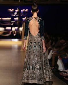 Cream Lengha Set with Embroidered Emerald Jacket - Indian Couture Week 2014 - Runway - Shop Women