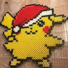 Christmas Pikachu hama beads by pikagirl_2.0