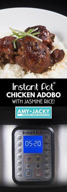 Make Instant Pot Chicken Adobo Recipe (Pressure Cooker Chicken Adobo) with Pot-in-Pot Rice. Quick