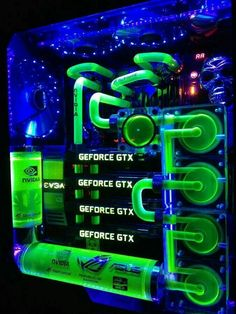 Green blue Computer pc mod modification setup gaming computer rig tower                                                                                                                                                                                 More