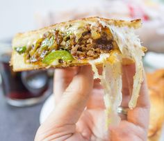 Ground Philly Cheesesteak Grilled Cheese - Dinner, then Dessert Pie Iron Recipes, Steak Recipes, Beef Recepies, Steak Meals, Sandwich Recipes, Recepies With Ground Beef, Ground Beef Recipes, Campfire Food, Campfire Recipes
