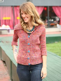 Brighten up your warm weather wardrobe with our easy tailored cardigan with horizontal rib accents.
