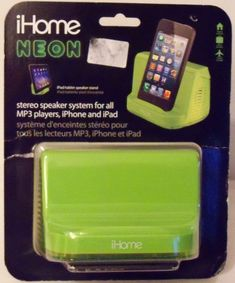 iHome Portable Stereo Speaker System for iPad/iPod/MP3 Players (Green Neon) #iHome