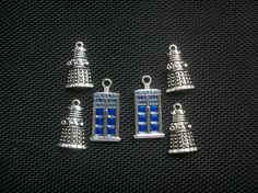 6 Police Box and Robot Alien Charms Silver Tone by cosmictrinkets
