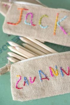 Great kid sewing project! Kid embroidered pencil pouch.