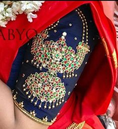 New embroidery dress indian blouses Ideas Wedding Saree Blouse Designs, Pattu Saree Blouse Designs, Blouse Designs Silk, Blouse Patterns, Maggam Work Designs, Indian Blouse, Indian Wear, Simple Blouse Designs, Blouse Models