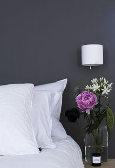 Mole's Breath by Farrow&Ball in bedroom via Coffee Table Diary Farrow Ball, Farrow And Ball Bedroom, Contemporary Interior, Color Inspiration, Breathe, Bed Pillows, Lounge, Interior Design, House Styles
