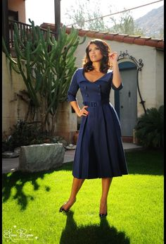 Pinup Couture Ashley Dress in Navy Sateen