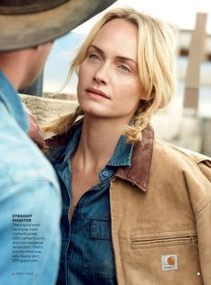 love this photo of Amber Valetta in Vogue 2/13. This photo reminds me of women from Alaska - beautiful, real, not afraid to work. And wearing Carhartt!