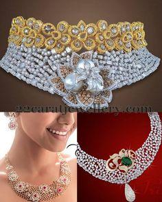 Jewellery Designs: Glorious Diamond Sets by JCS Silver Jewellery Online, Indian Jewellery Design, Royal Jewelry, Jewellery Designs, Necklace Designs, Vintage Jewelry, Jewelry Patterns, Indian Wedding Jewelry, Indian Jewelry
